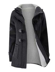 BYD Femmes Manteaux à Capuche Bouton Corne Blouson Veste Jacket Manches Longues Chaud Épais Hoodie Hoody Outwear Automne Hiver Slim Fit,Gris,X-Large