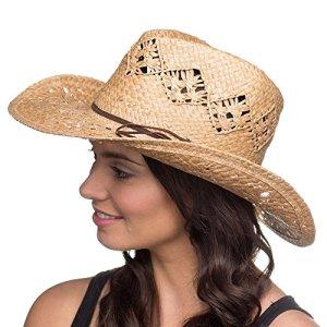 Chapeau de Cowboy Western Classique Orné avec Corde Femme (Naturel)