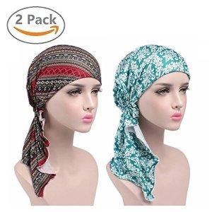 EINSKEY Turban femme, 2PCS Bonnet femme confortable foulard bandana pour perte de cheveux,cancer,chimio,musulmans.