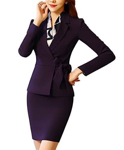 SK Studio Femmes Vestes De Tailleur Jupe De Bureau Longues Manches Costume Ensemble Blazer Avec Jupe Violet Blazer + Jupe 38 2XL