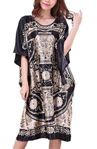 Yidarton Chemise de Nuit femme Soie en vrac Grande Taille – Longue Robe Couverture Satin Pyjama Femme Manches Courtes