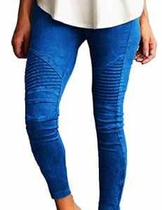 Junshan Leggings Femmes Grande Taille taille surdimensionnée Crayon Strech stretch coloré pour femmetaille Skinny Taille Haute Crayon Pantalon Slim Fit (Bleu, 44)
