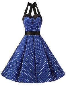 Dressystar DS1957 Robe de bal Polka Vintage pin-up à 'Audrey Hepburn' 50's 60's Rockabilly Halter,dos nu, Bleu saphir à pois M