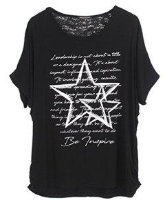 Emma & Giovanni T-Shirt Imprimé Etoile Manche Courte – Femme (1-Noir, XL/XXL)