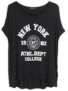 Emma & Giovanni T-Shirt imprimé New York – Femme (Noir, XL/XXL)