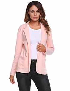 Meaneor Femme Blazer 3/4 Manche Blouson Manteau Jacket Mince Suit Veste