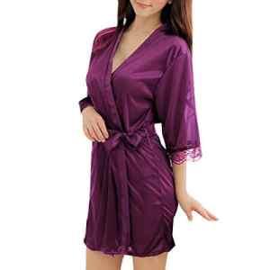 Sidiou Group Peignoir Satin Robe de Chambre Kimono Femme Sortie de Bain Nuisette Déshabillé Vêtements de Nuit femme Satin Lingerie Dentelle Peignoir Robes de Mariée (L, Style 1-Violet)