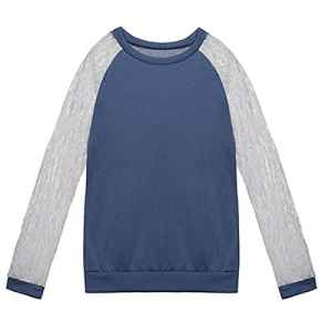 SODIAL(R) Sweat-shirt de loisirs de dentelle au crochet A manches longues pour Femmes Blouse Tops M bleu