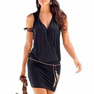 SUNNOW Elégante Tunique Robe Femmes Casual d'été sans manches Col V Profond Robe de Plage Mini robes T-shirt Party Robe Court Mini Robe (M, Noir)