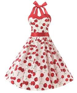 Dresstells Version3.0 Vintage 1950's Audrey Hepburn pin-up robe de soirée cocktail, style halter années 50 à pois, Blanc-Cerise L