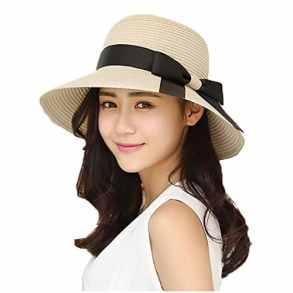 EINSKEY Chapeau Paille Femme Été Anti UV Plage Casquette Soleil Bucket Hat Pliable pour Voyage, Safari, Peche, Randonnée