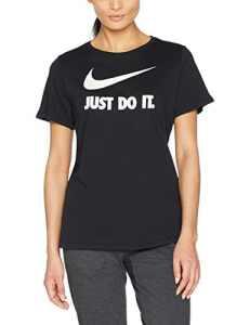 Nike W Nsw Tee Crew Jdi Swsh Hbr T-Shirt Femme, Noir/Blanc, FR : L (Taille Fabricant : L)