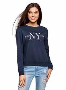 oodji Ultra Femme Sweat-Shirt en Coton avec Impression, Bleu, FR 42 / L