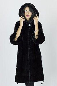 PELLICCEFUR Mink fur coat black cap 42 fourrure vison 水貂皮草 pelliccia visone Pelz Nerz mex hopka