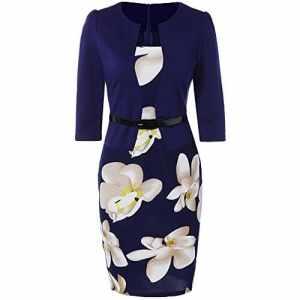 Rosegal Tailleurs-Robes de travail ajustée à fleurs au genou Femme Robe de commerce (XL, Bleu)