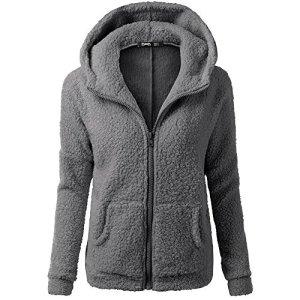 Vertvie Femme Veste Polaire Zippé Sweat-shirt à Capuche Manteau Hoodie Chaud Automne Hiver (L, Gris Foncé)