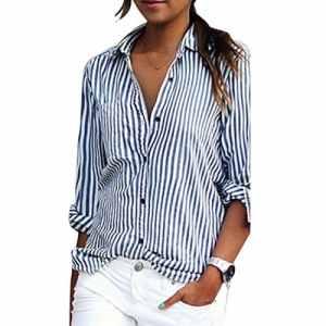 Bonboho Femme Rayure Boutons Col V Hauts Chemise Manches Longues Tops Blouse Casual Shirt (X-Large, Blue+White)