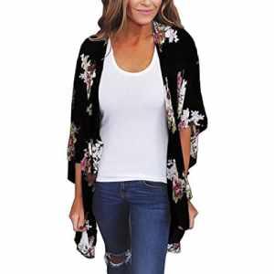 ❤️Cardigan Shawl , Amlaiworld Femmes Imprimer Kimonos Cardigan Tops Mousseline de Soie Châle Lâche Cover Up Blouse Maillots de Plage (L3, Noir)