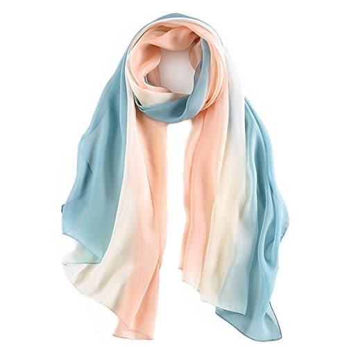 Élégant Femme Foulard en Soie Doux Longue Écharpe de Plage Blocage de Couleur 70,8″x 27,5″ (poudre blanc bleu)