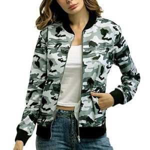 iBaste Femme Pull Hoodie Sweat à Capuche T-shirt à Manches Longue Zippe Camouflage Casual Jacket pour Printemps