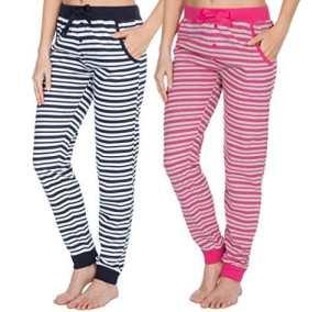 Insignia femmes Pantalon de détente Pull-over COTON DOUX pyjama pantalon pyjama bas – bleu et Rose Rayure, Medium