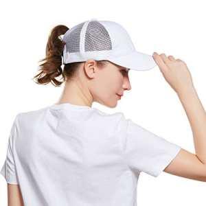 Queue de cheval Casquette de baseball – Filles Ajustable Bonnet de tennis respirant (Noir)