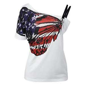 Sfit Femme Top T-Shirt Manches Courtes Sling Imprimé Papillon Eté