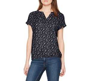 TOM TAILOR Easy Print, Blouse Femme, Bleu (Real Navy Blue 6593), 46 (Taille Fabricant: 44)