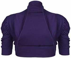 Purple Hanger – Gilet style boléro pour Femmes froncé manches courtes – 36/38, Violet