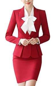 SK Studio Femmes Travail Blazer Jupe De Bureau Tailleur Revers Casual Costume Manteau Rouge 44 étiquette 4XL