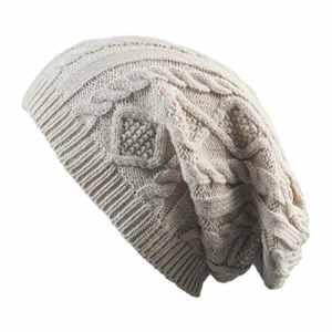 Treestar chaud Hiver Tricot Bonnet en peluche Impression Twist froid extérieur coupe-vent Unisexe Chapeaux 1pcs, beige, 30*20CM