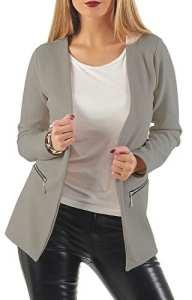 Danaest – Veste de tailleur – Blouson – Uni – Manches Longues – Femme – gris – Large