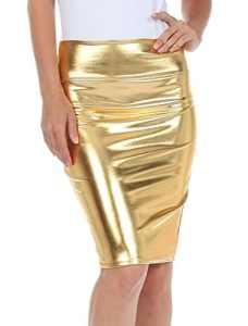 Fast Fashion – Haute Taille Regard Humide PVC Cuir Brillant Métallique Liquide Crayon Midi Jupe – Femmes (2XL = 48-50, Métallique Or)