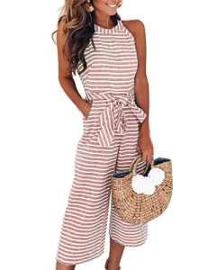 FeelinGirl Combinaison Femme Combishorts Longue Court Pantalon Rompers Taille Haute sans Manche Jumpsuit de Soirée Taille Serrée S-XL (L=FR42-44, Rouge-Long)