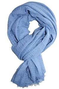 Femme – Foulard – Froissé – pashmina – écharpe – cache-col – 20 Couleurs (Bleu Horizon)