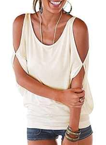 Imixcity Femme Chic Été Manches Ouvertes Lâche Chemisiers Batwing Haut Blouse T-shirt avec Dos Shirt À Lacets (EU 42/44 (Balise 2XL), Blanc)