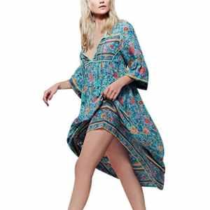 ♬Robe Femmes d'été Maxi Longue Imprimé Floral Robe Lâche Classique Bohème Manche Longue Robe de Plage Asymétrique Robe de Soirée Cocktail GongzhuMM Fluide et Elegante (4XL, SEXY BLEU)