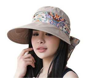 Roulez le chapeau de soleil de protection contre les UV UPF 50+ UV de large bord de visière avec le protecteur de cou