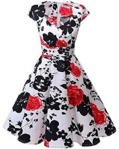 Bbonlinedress Robe Femme de Cocktail Vintage Rockabilly Robe Plissée au Genou sans Manches col carré Rétro Red Flower 3XL