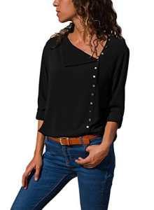 Dokotoo Chemise Femmes Manches Longues Chemisier Couleur Unie Fluide en Mousseline de Soie Tops Slim Elégante Blouse T Shirts