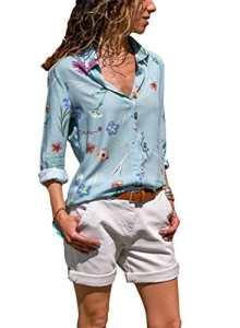 Dokotoo Femme Chemise Manche Longue Imprimé Fleuri Chemisier en Soie Blouse Col V Bouton T Shirt