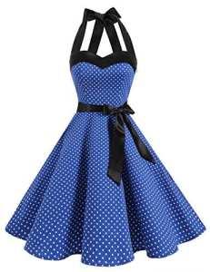 Dresstells Version3.0 Vintage 1950's Audrey Hepburn pin-up robe de soirée cocktail, style halter années 50 à pois, bleu saphir L