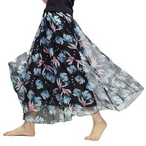 Elonglin Jupe en Mousseline Imprimé Fleurie Jupe Maxi avec Jupon Bohême Jupe Plissé de Plage Taille Elastique