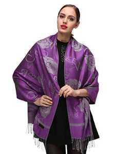 Femme Élégantes Doubles Côtés Floral Pashmina sensation Wrap écharpe étole châle (One Size, Purple-c091)