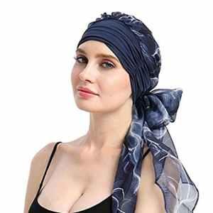 Moonuy Bohême Femmes Musulman Stretch Turban Chapeau Chemo Cap Perte de cheveux Écharpe Tête Wrap Hijab Cap Casquette de plage Bonnet Pour Femme Chemo Cancer Tête Écharpe Chapeau (D)