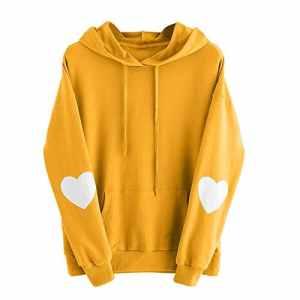 Rovinci_Sweat-shirt Femmes Printemps L'automne Hiver Mode Manche Longue Cœur Impression Couleur Unie Décontractée Sweat à Capuche T-Shirt Sauteur Pull à Capuche Tops Chemisier