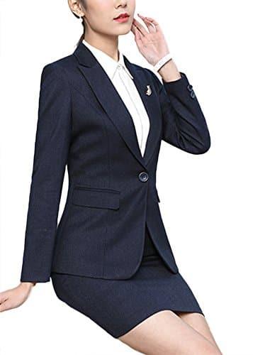 SK Studio Femmes Tailleur Jupe De Bureau Travail Blazer Revers Bouton Costume Veste Bleu 36 étiquette L