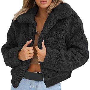 Sweat Femme 2018 EUZeo Automne Hiver Aux Femmes Mode Solide Sexy Col Rabattu Chaud Manteau en Laine Artificielle Veste à glissière Hiver
