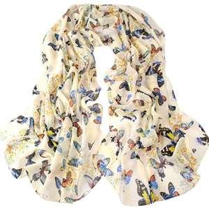Wicemoon 1pièce Beige en Mousseline écharpes Dancing Imprimé Papillon Longue Écharpe Wrap Châle pour Les Femmes