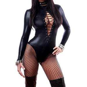 WONDER BEAUTY Femme Cuir PVC Latex Combinaison Sexy érotique Catsuit Catwoman Bodysuit Lingerie Clubwear
